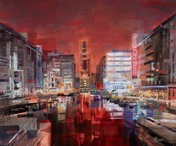 Nightlights, Clarence Dock by Tom Butler -  sized 36x30 inches. Available from Whitewall Galleries
